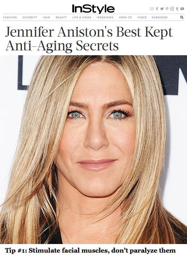 """Microcurrent Facials are a must have in top celebrity's beauty secrets! Read on..and then book your Intro.Session with us today! Tip #1: Stimulate facial muscles, don't paralyze them  Aniston feels that many people """"lose perspective"""" and go too far with Botox and plastic surgery. """"Why would you want to atrophy muscles anyway?"""" she asks. """"If you don't workout, eventually everything drops."""" To keep her skin taut and smooth, she swears by microcurrent facials. """"It's like a little workout for your face,"""" she says. During the treatment, an aesthetician places electrically charged pads or uses fork like probes on the face to stimulate the muscles, immediately tightening and toning the skin. Also consider investing in one of the new at home facial rejuvenation devices such as Nuface Trinity aka the """"5-minute face lift"""". This gadget—which is FDA-approved and clinically proven to improve facial contour—uses the same technology dermatologists and aestheticians use. Treatments take only 5 minutes a day (and trust us: you will see a small but noticeable lift after just one use)."""