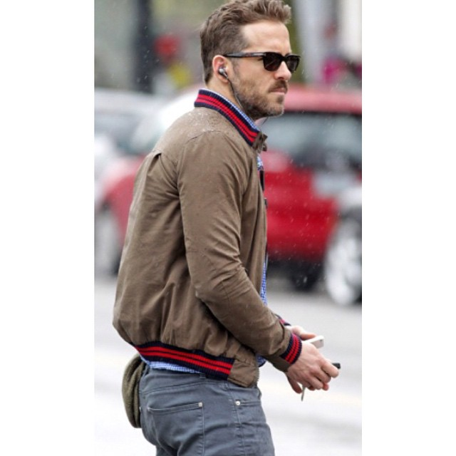 #RyanReynolds is our #mcm every day.  The only thing we love more than this guy is his bomber #jacket!  Want to steal his #style for only $69?! Details in our bio!