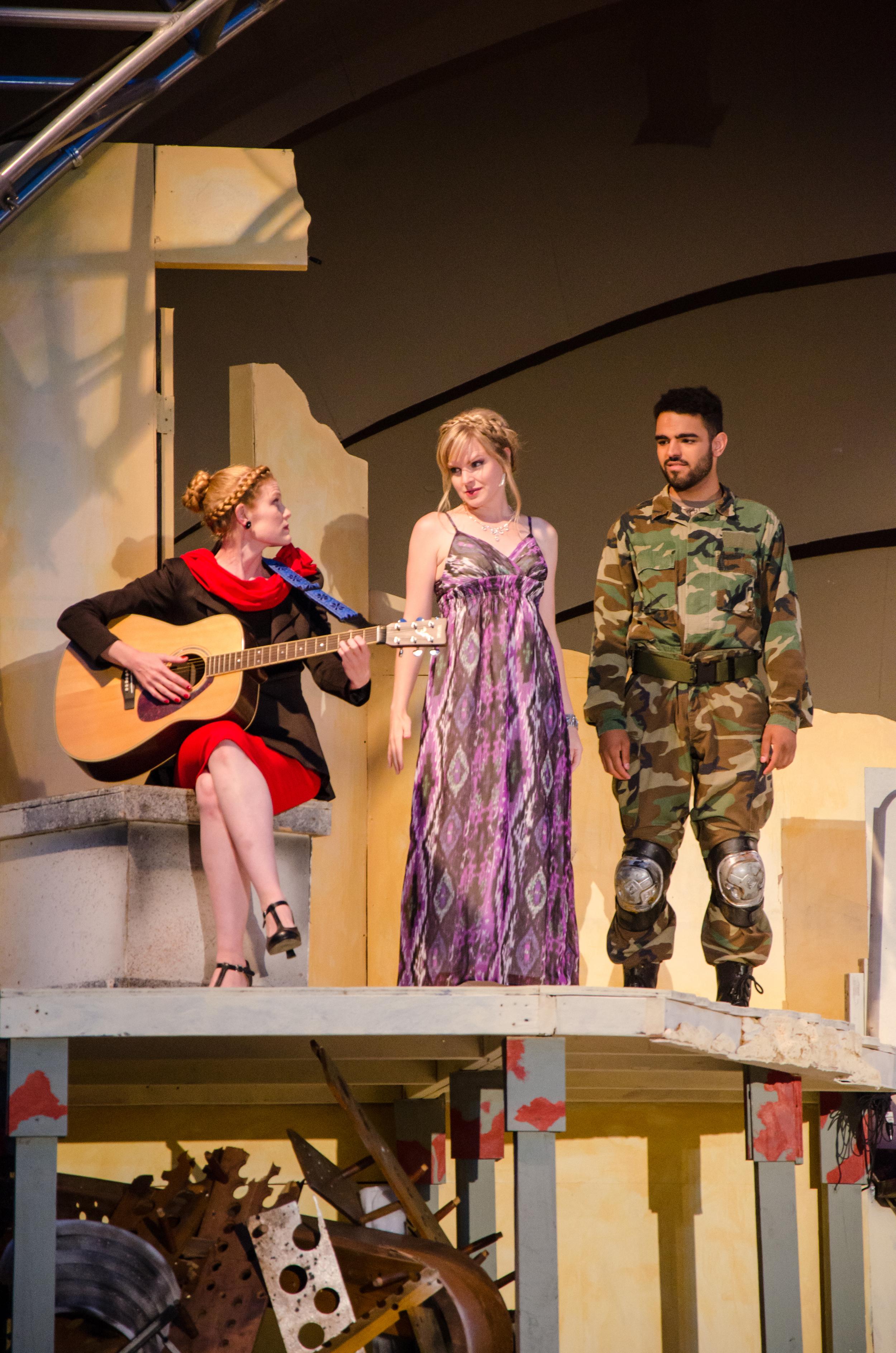 Pandarus (Amber Mann), Helen (Kathryn Miller), Paris (Matthew Mercado)