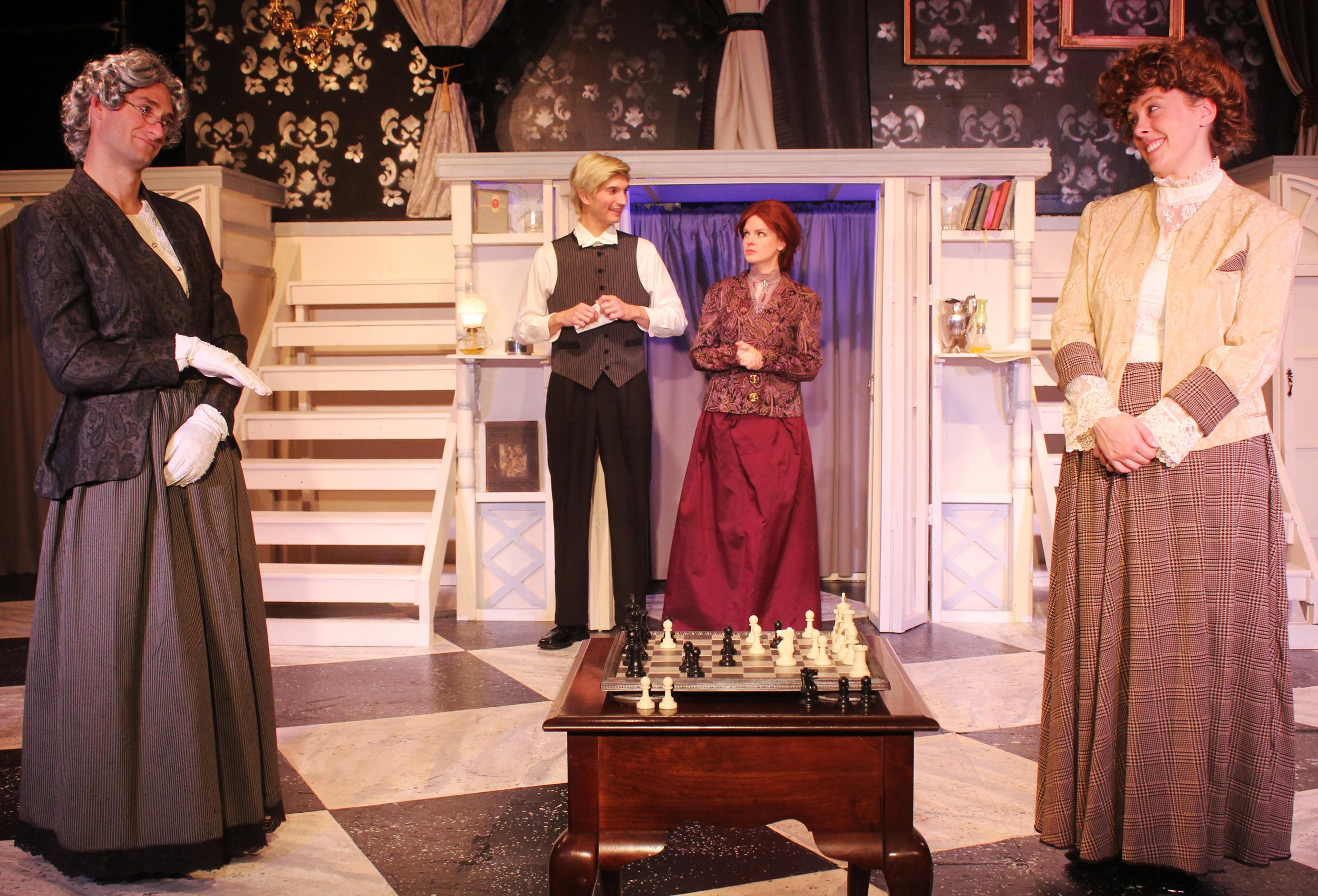 Lady Markby (Ian Potter), Mason (Thomas Weaver), Mrs. Cheveley (Kathryn Miller), Lady Gertrude Chiltern (Tara Herweg-Mann)