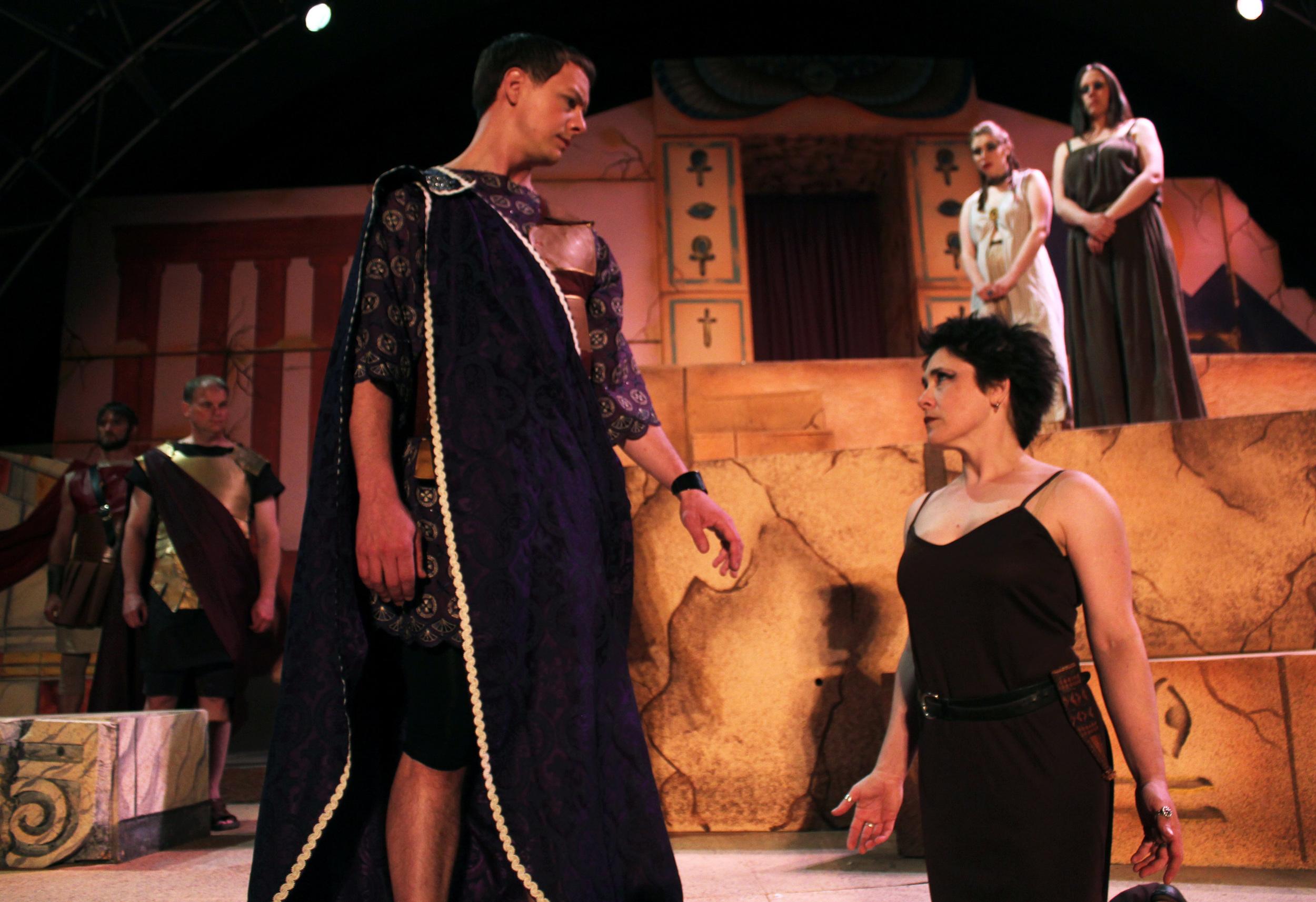 Agrippa (David Richwine), Octavius (Jeff Luttmoser), Cleopatra (Francesca Amendolia), Iras (Miranda Zerbe), Chairmian (Tara Herweg-Mann)