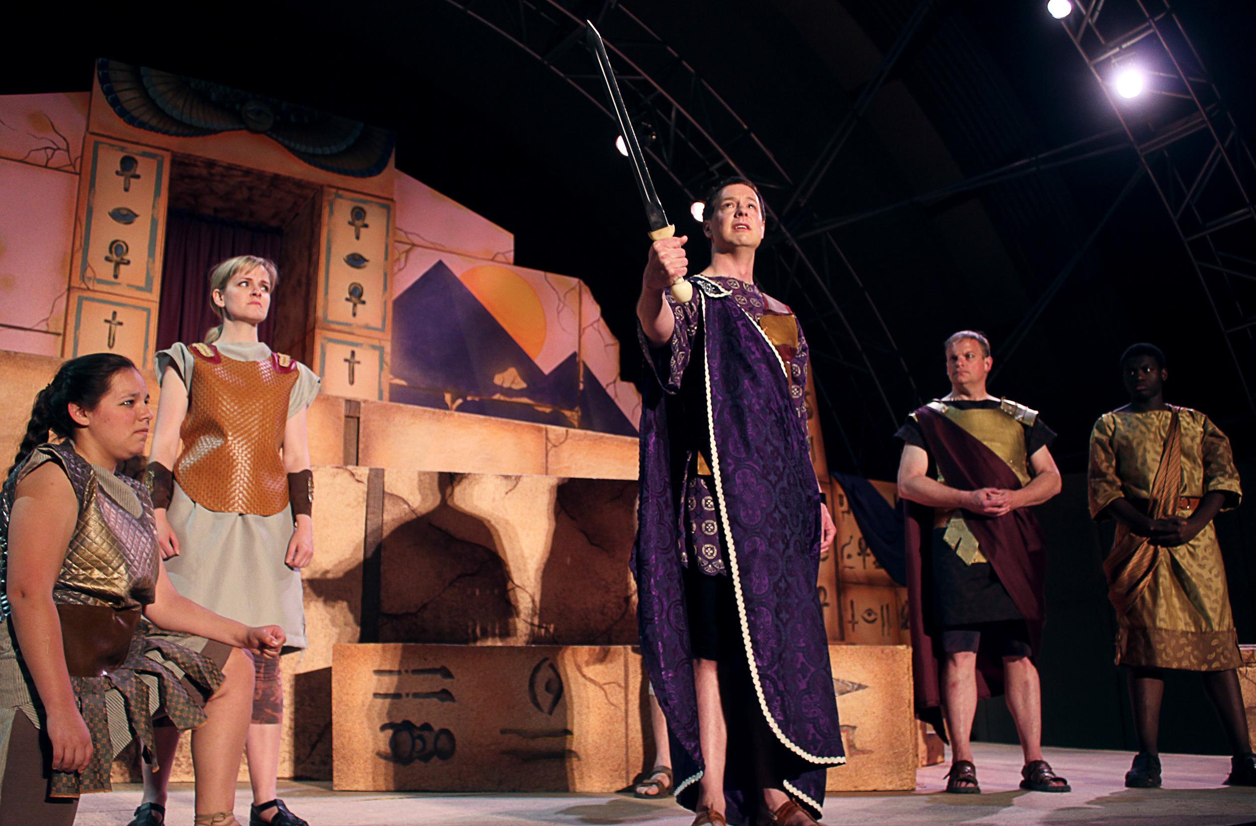 Diomedes (Grace Hoover), Gallus (Kathryn Miller), Octavius (Jeff Luttermoser), Agrippa (David Richwine), Mecaenas (Bernard Joseph)