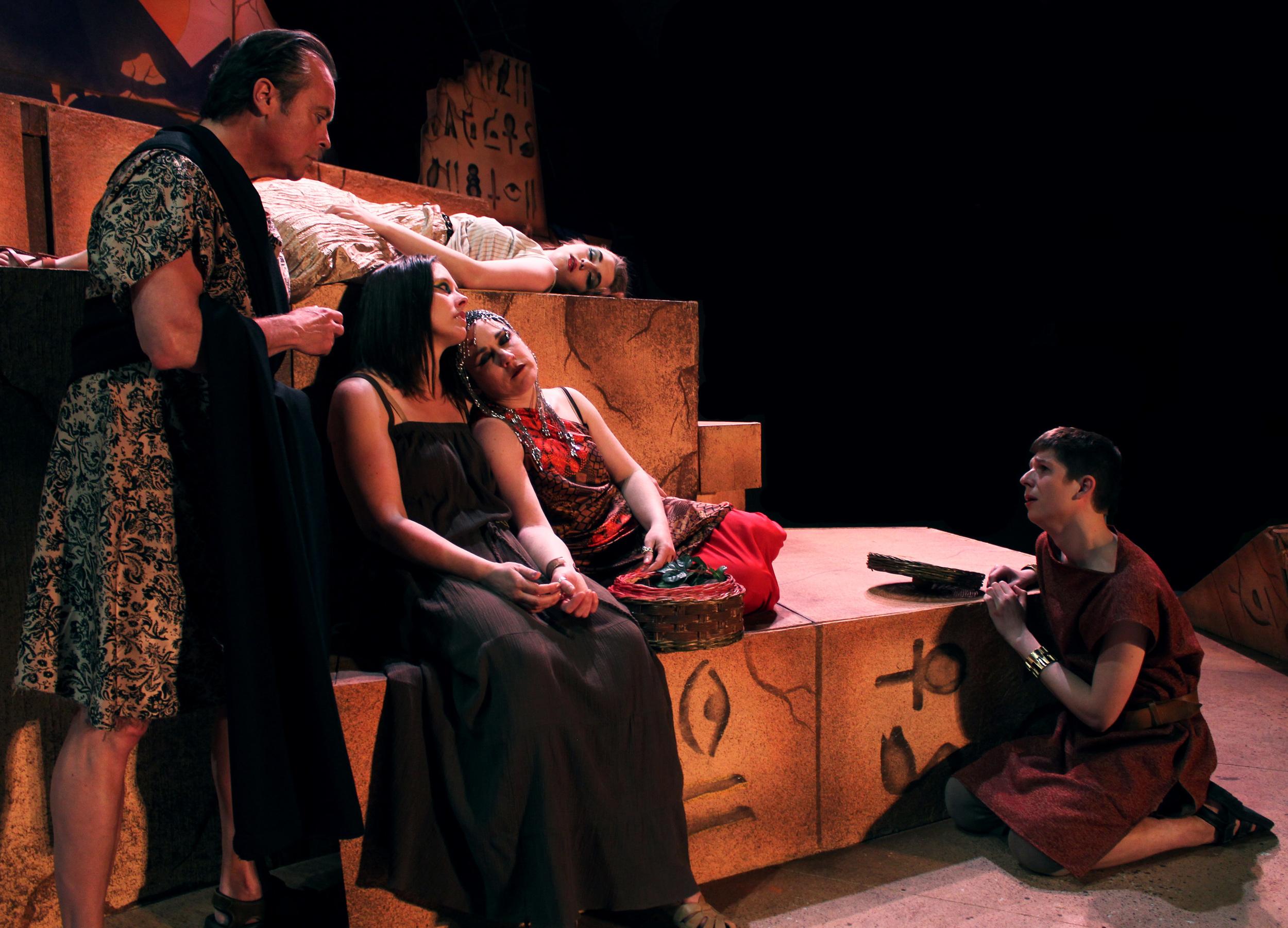Menas (Jeffrey Rensch), Iras (Miranda Zerbe), Chairmian (Tara Herweg-Mann), Cleopatra (Francesca Amendolia), Thidias (Aiden Roth)