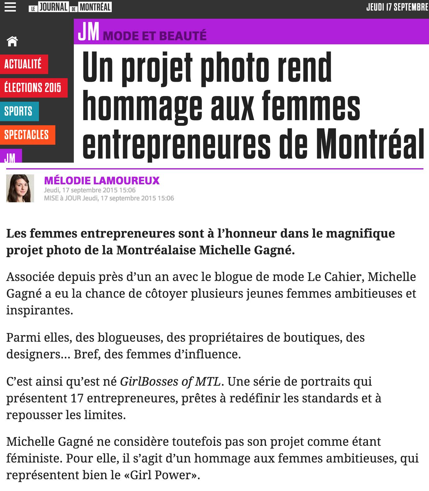 Raw taste_Journal De Montreal_Girl Bosses_article