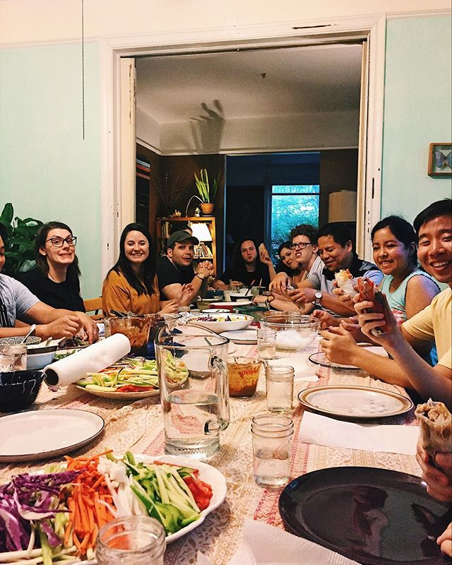 """""""Everyone hold up your spring rolls and smile!"""" . Everyone: """"I already ate mine."""" 🤷♂️ . Thank you @yellowaglet for teaching us the art of spring roll making! . . . . #springrolls #church #smallgroup #churchdinner #campusministry #collegeministry #evanston #campuschurch #ministry #acna"""