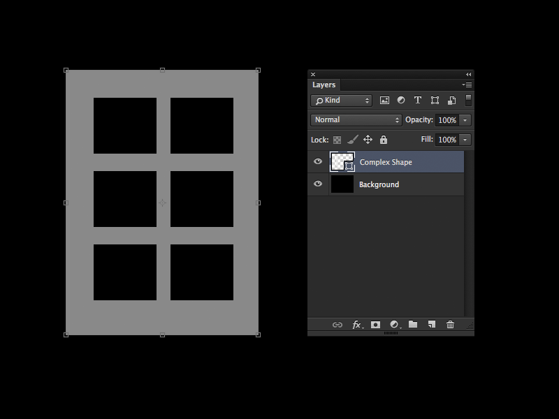 This is the default selection when selecting a shape layer in the layers panel. Notice the paths within the shape layer have not been selected.
