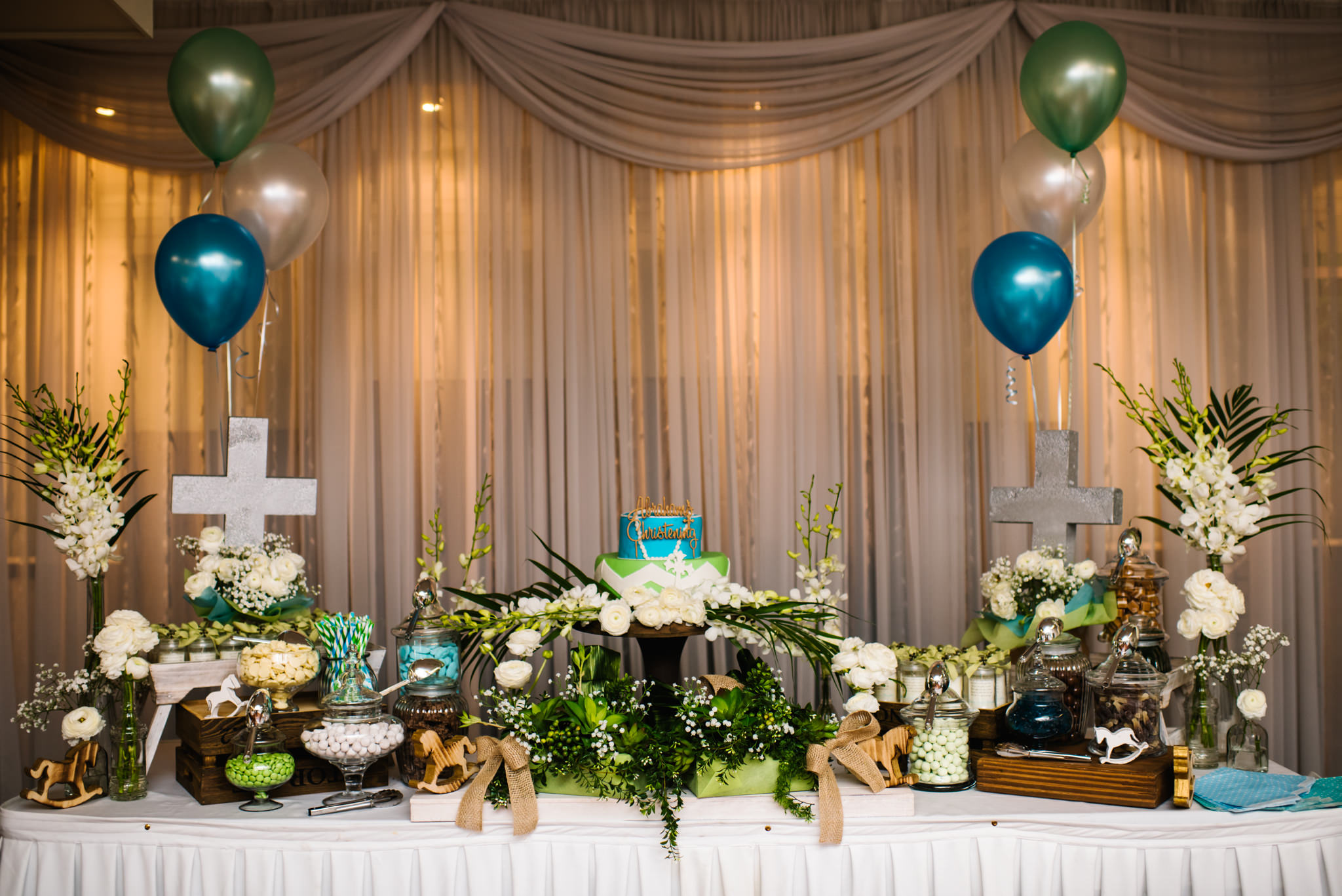 Blue green gold christening reception decor