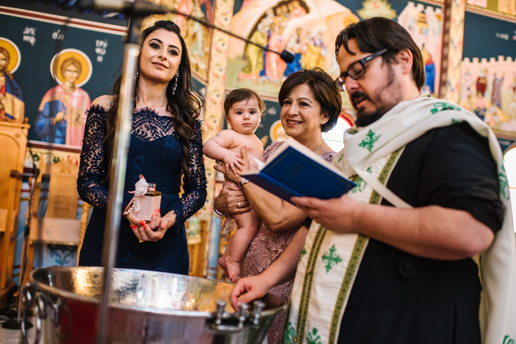 Baby and grandmother Greek orthodox christening