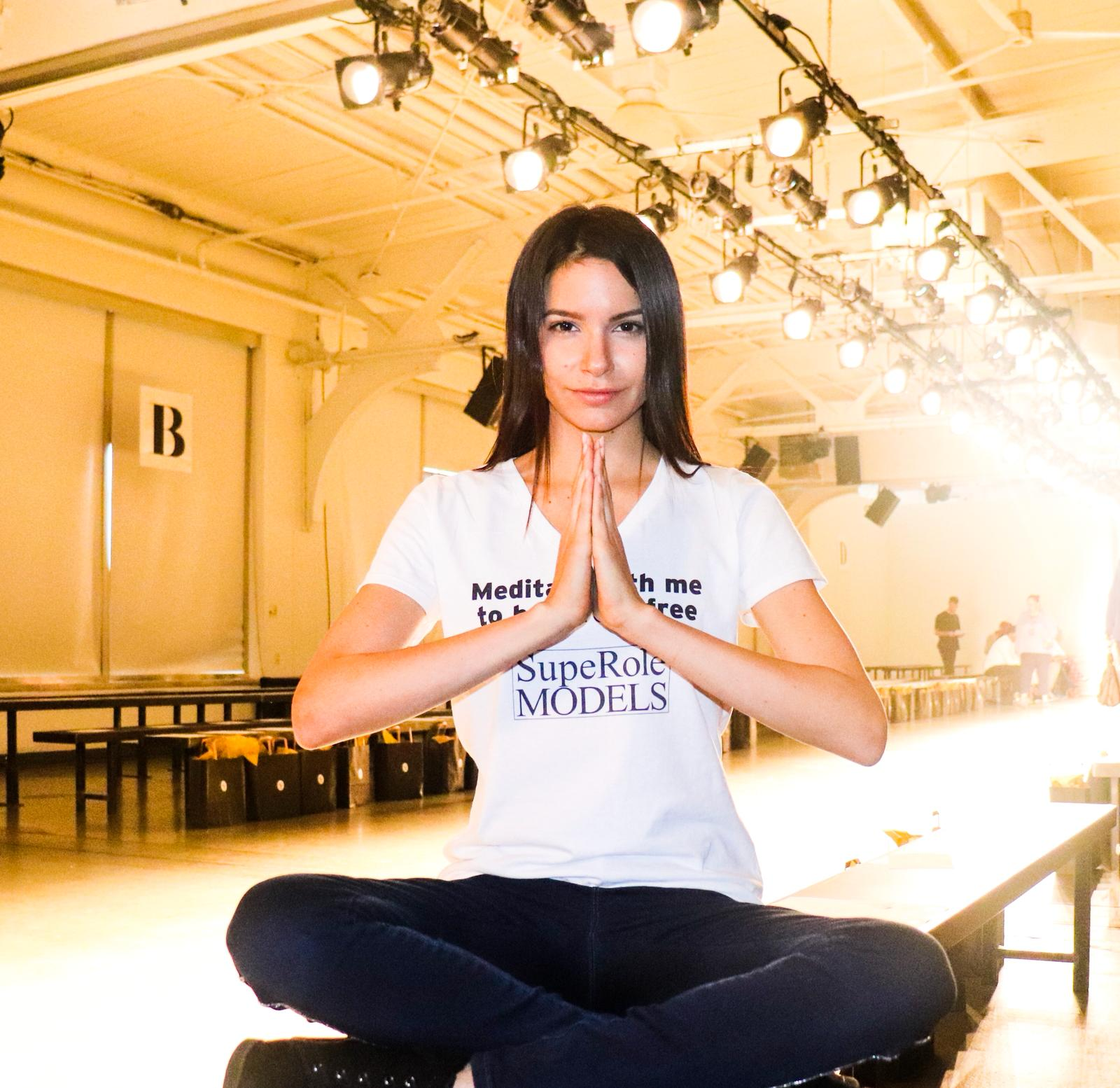 Meditation NYFW - SupeRoleModels practiced meditation with models / makeup artists / photographers backstage during the NYFW September,2018