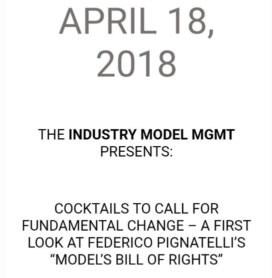 The Industry Model MGMT - The SupeRoleModels joined the event Industry - wide call for fundamental change in how agencies operate and interact with models with the owner of the agency Industry Model MGMT to establish