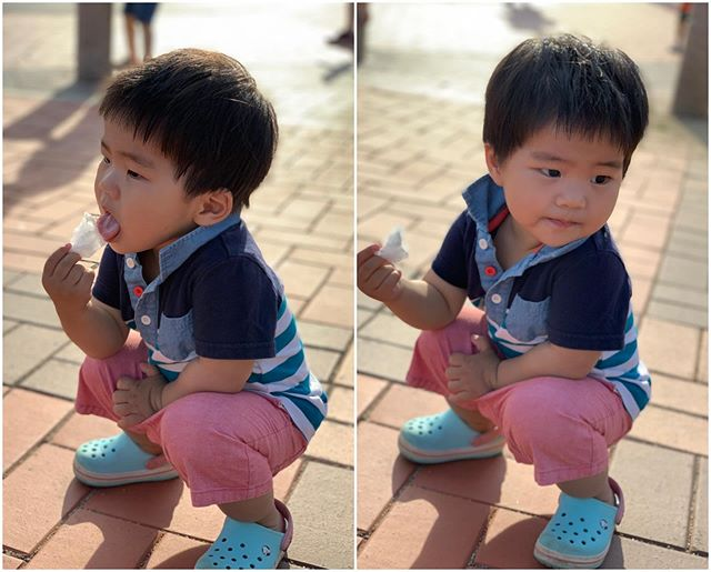 Savoring cotton candy(솜사탕). He immediately ran back to Joon to ask for more 😆