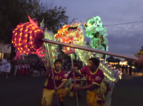 Chinese dragons and lions