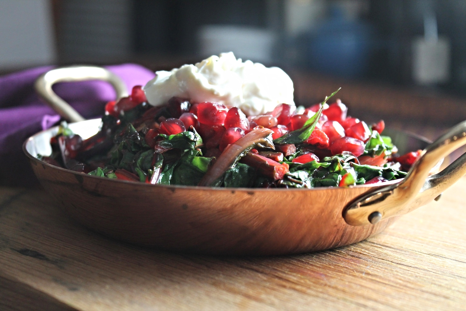 Swiss Chard with Pomegranate and Orange Honey Yogurt | www.hungryinlove.com