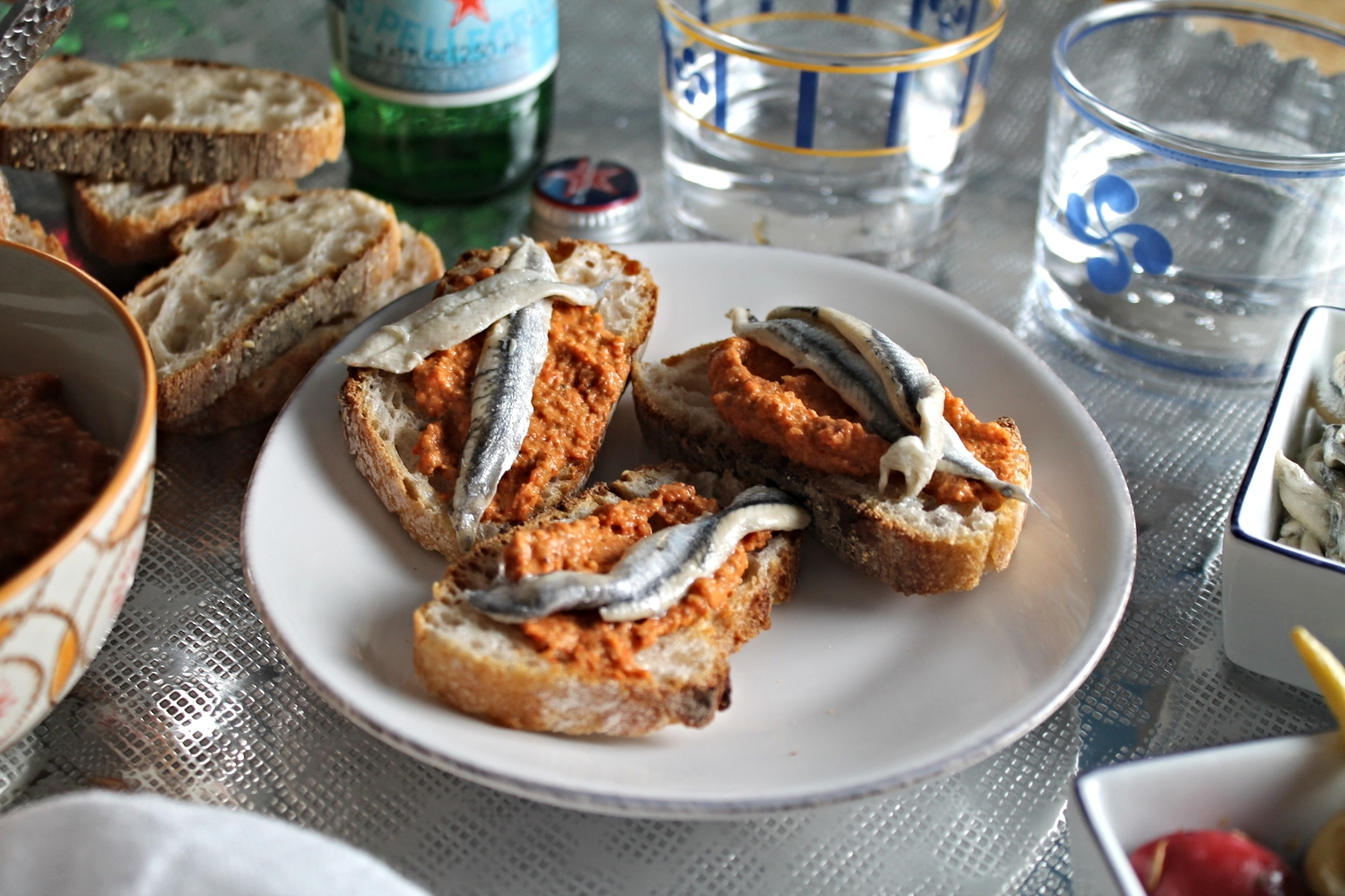 Anchovy Toasts + Romesco | www.hungryinlove.com