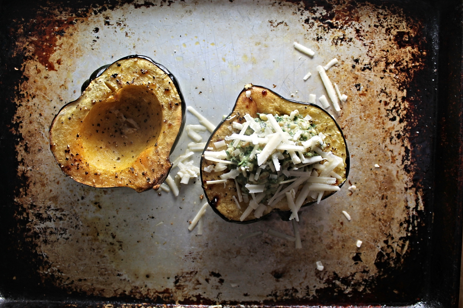 Acorn Squash Stuffed with Creamy Herb Farro | www.hungryinlove.com