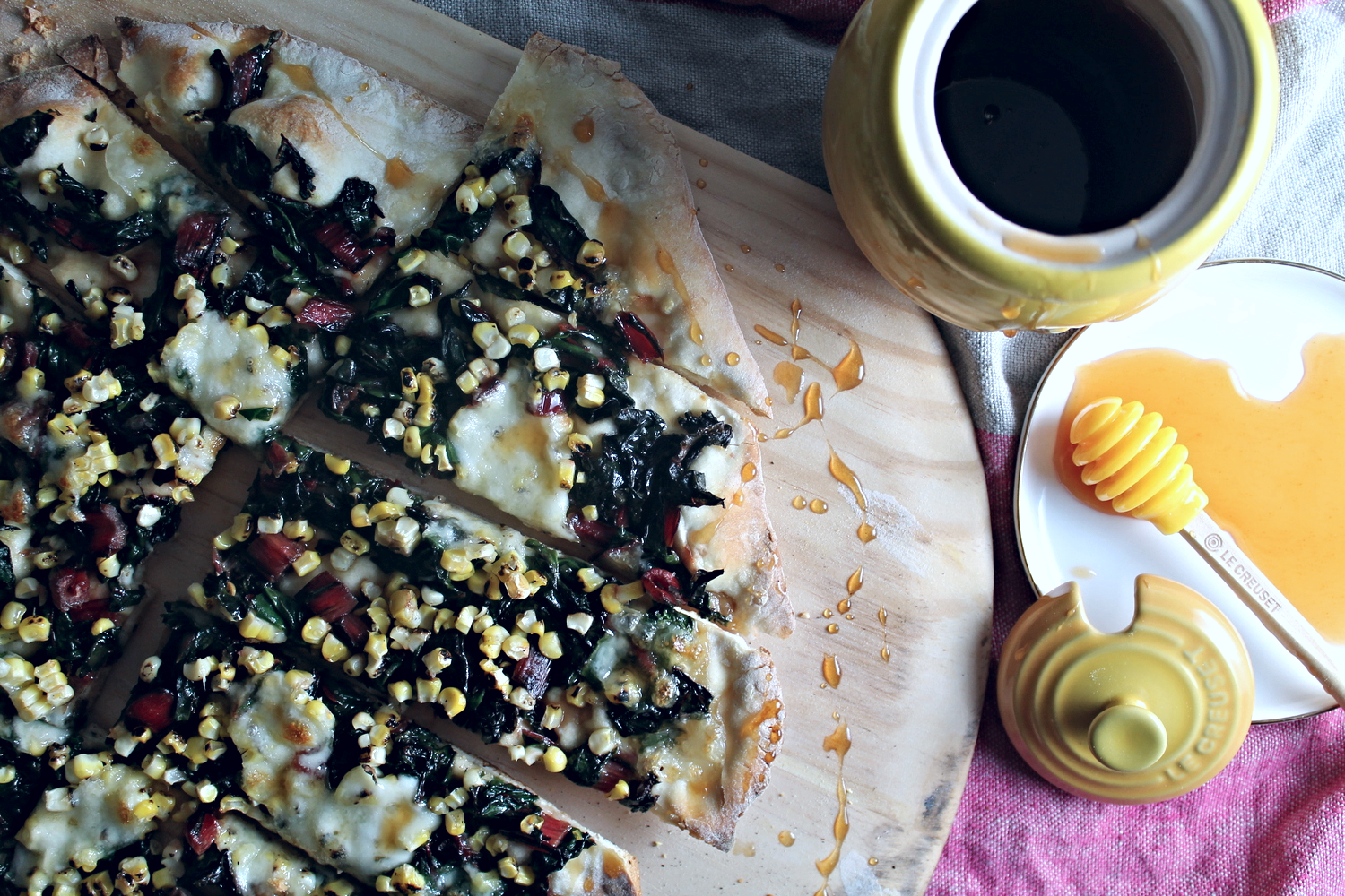 Pizza with Greens, Corn + Hot Honey | www.hungryinlove.com