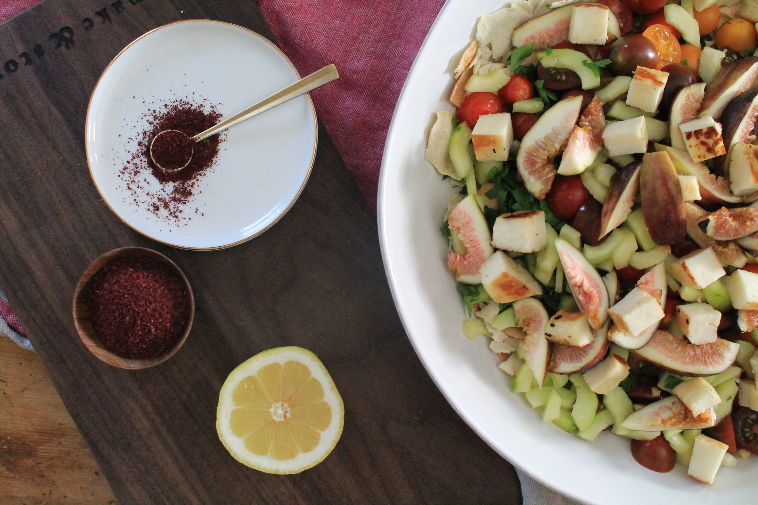 Fattoush Salad with Halloumi + Figs | www.hungryinlove.com