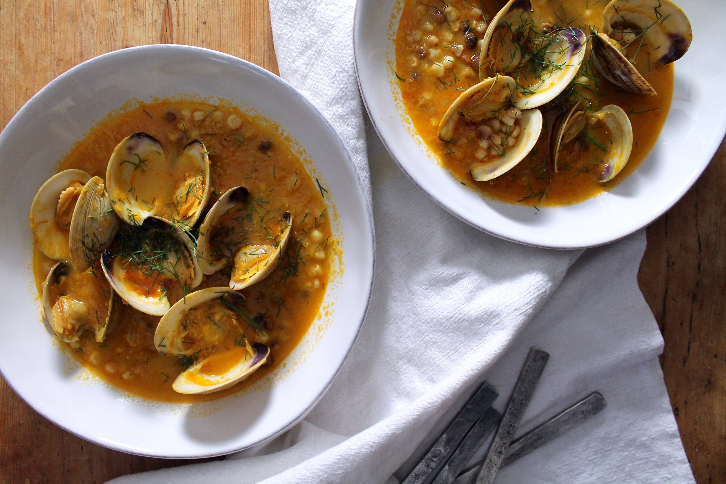 Cherrystone Clams with Saffron + Fregola | www.hungryinlove.com