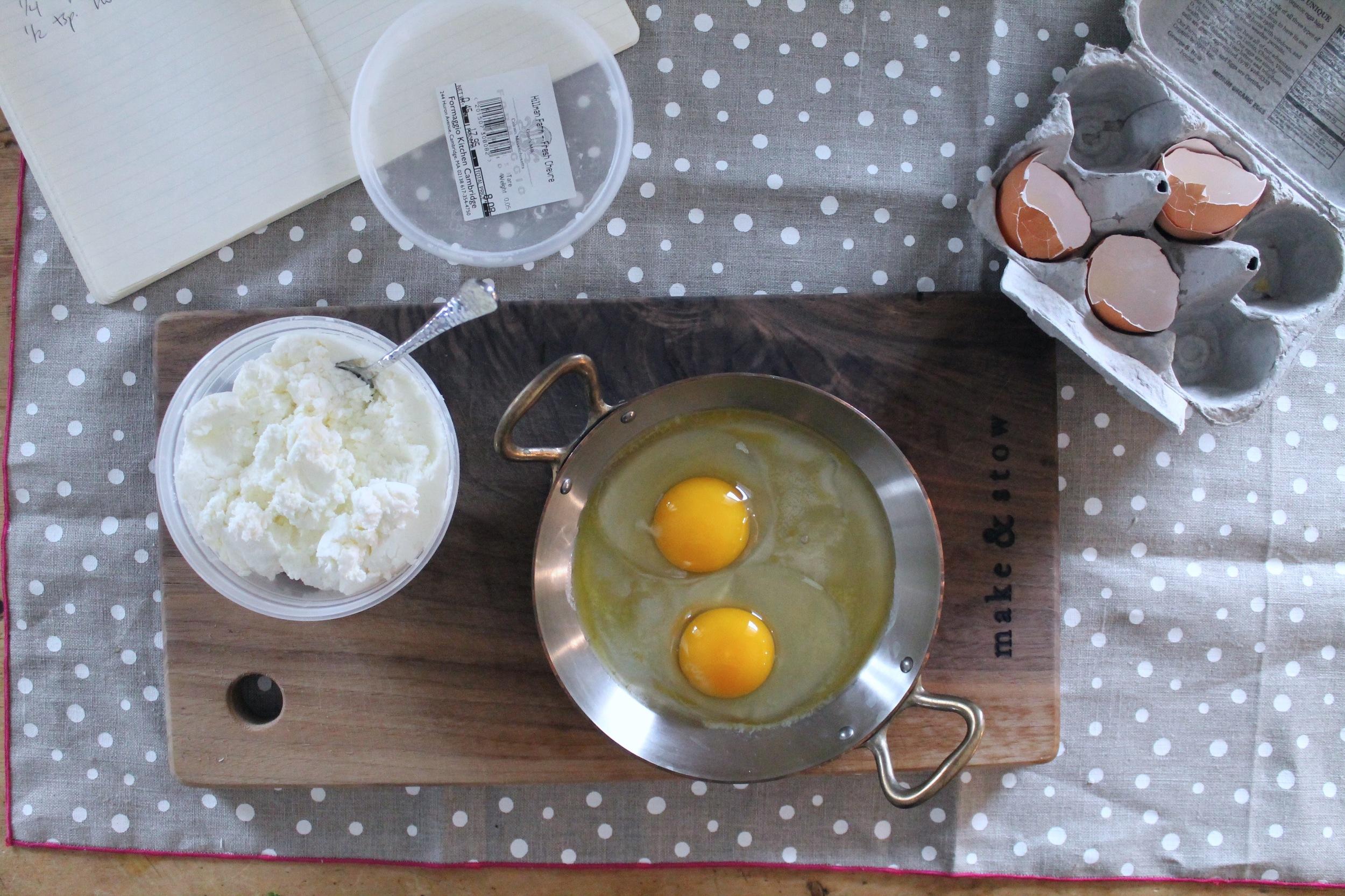 Baked Eggs with Chevre + Cilantro Chutney   www.hungryinlove.com
