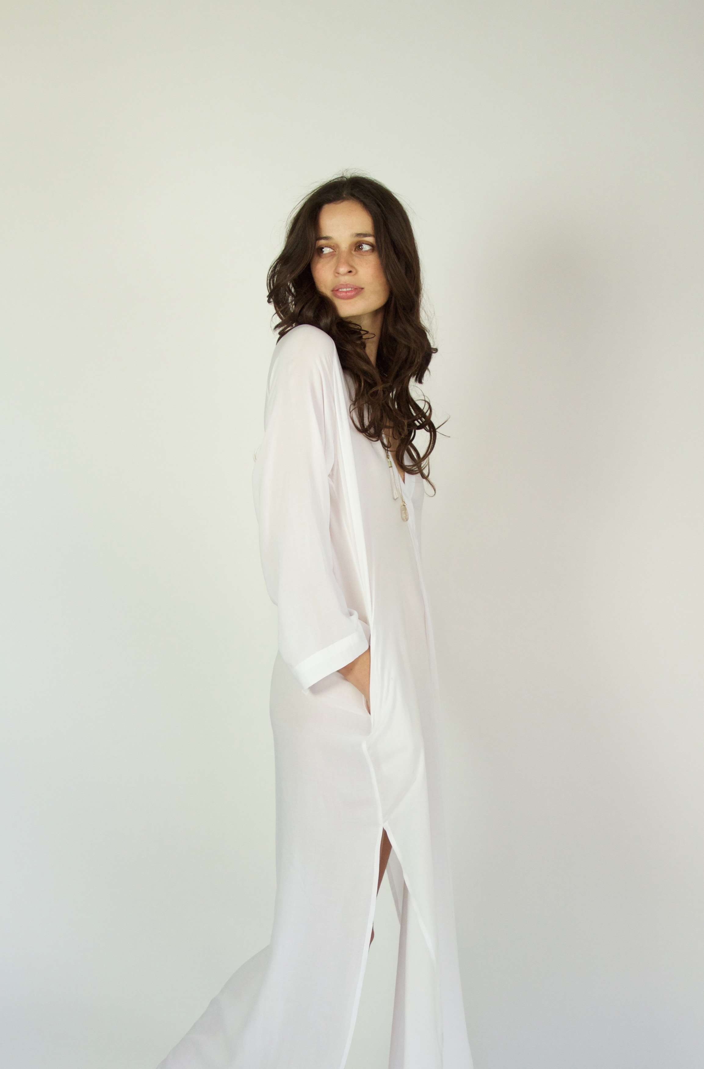 Narelle wears the Paloma Long in white