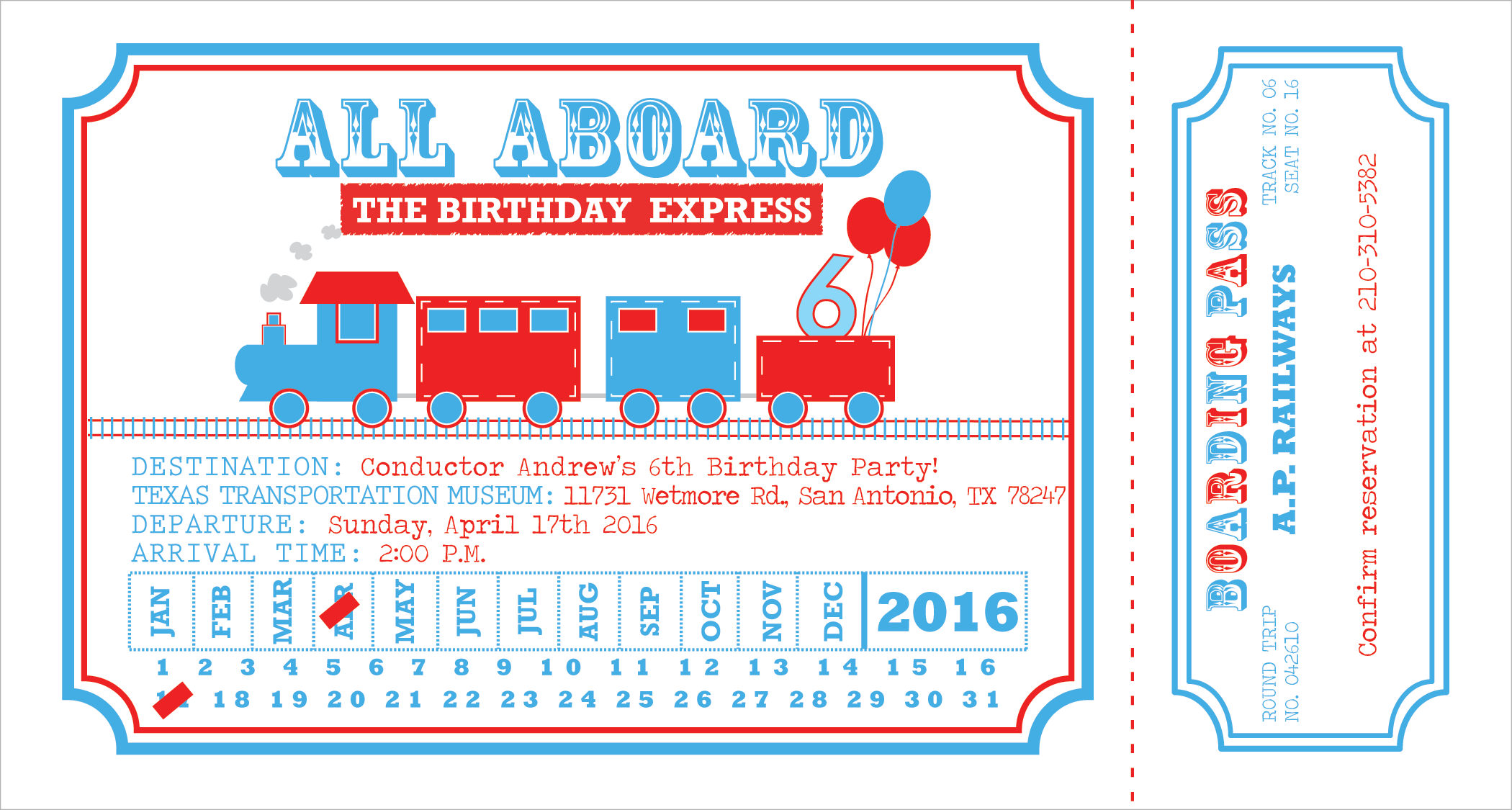 **Note, the red rectangles over month & date will not appear on finished product. These spots will be hand punched as though by a real train conductor!;)