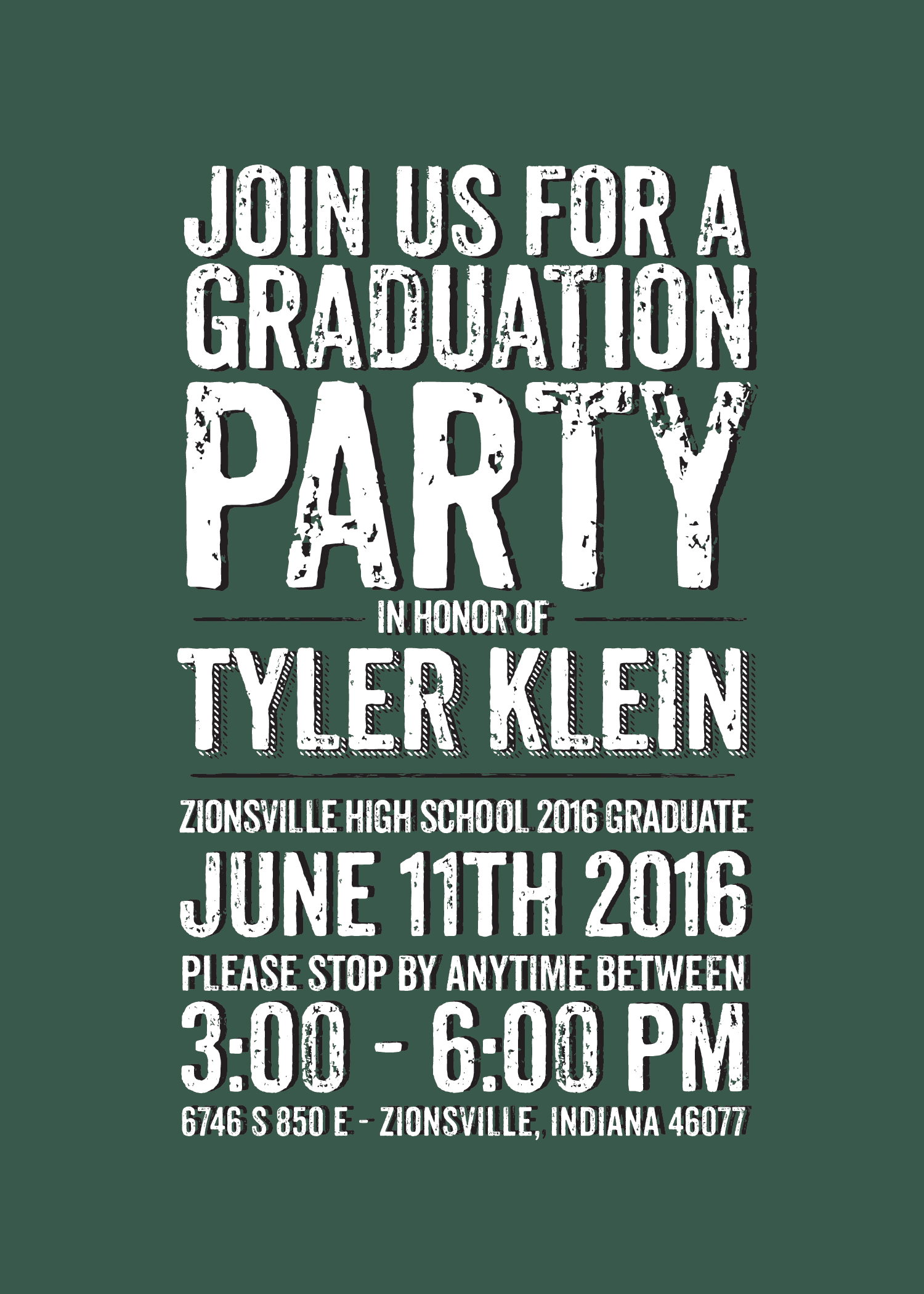dark green and black graduation invitation