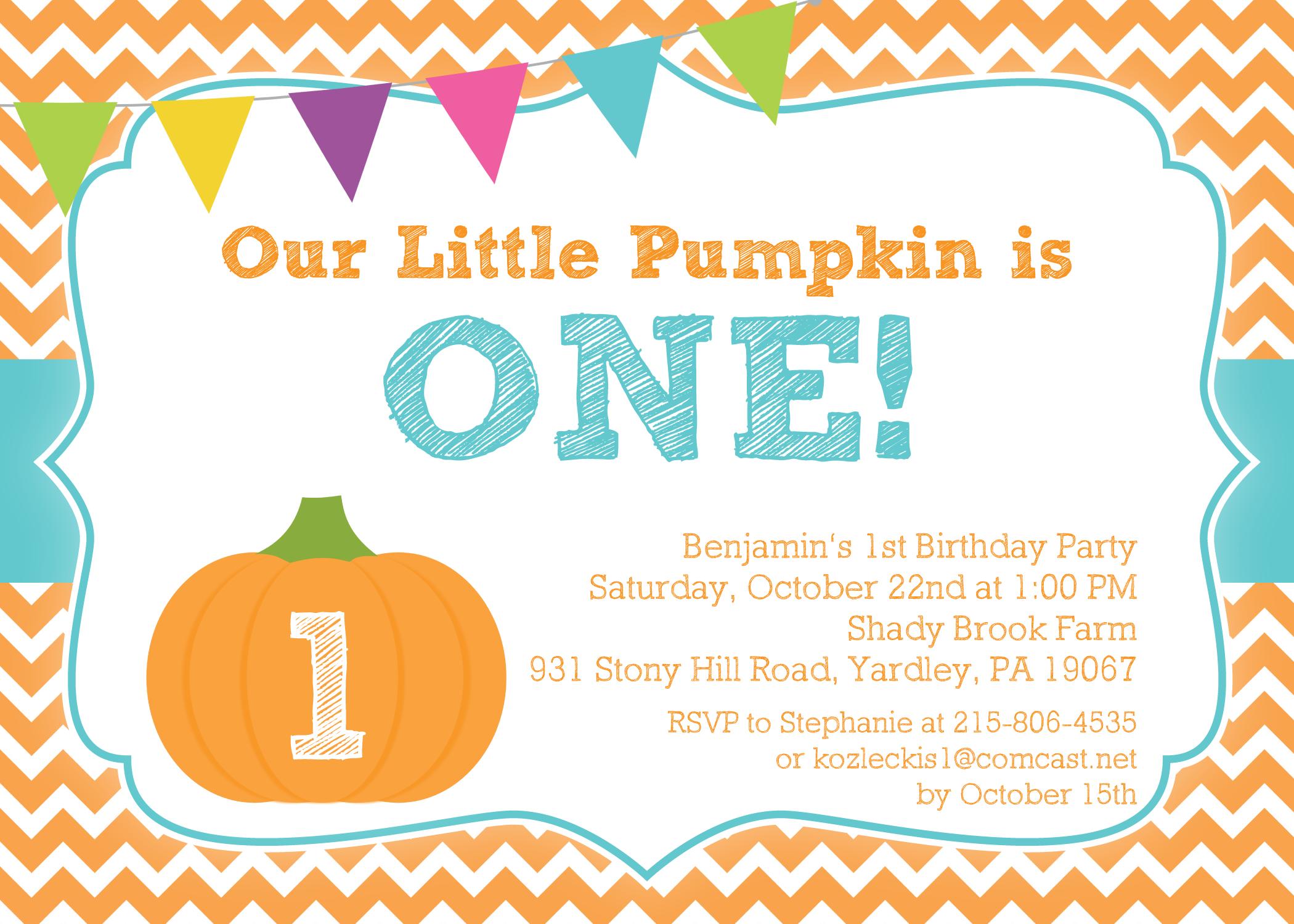 pumpkin boy birthday invitation