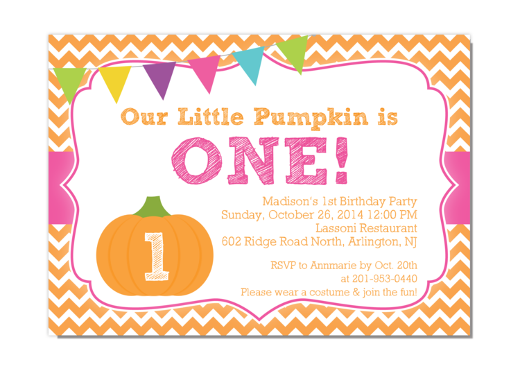 girl pumpkin birthday invitation