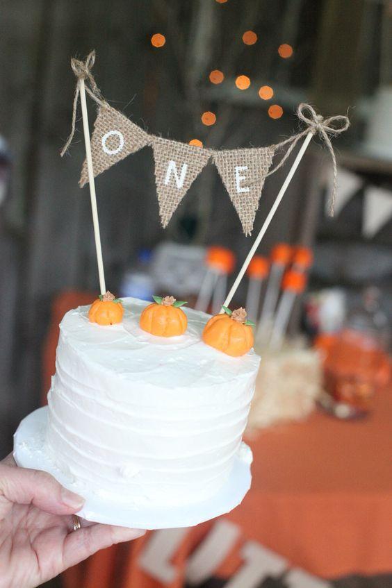 pumpkin smash cake burlap bunting