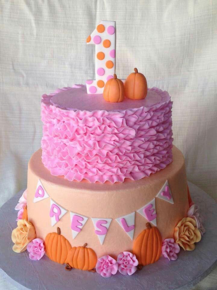 pumpkin cake pink ruffles