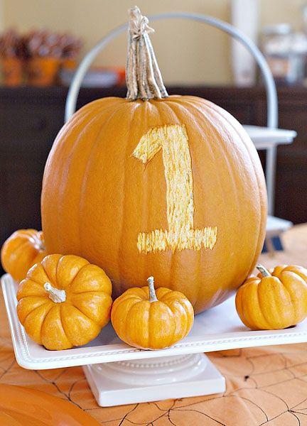 pumpkin carved first birthday centerpiece