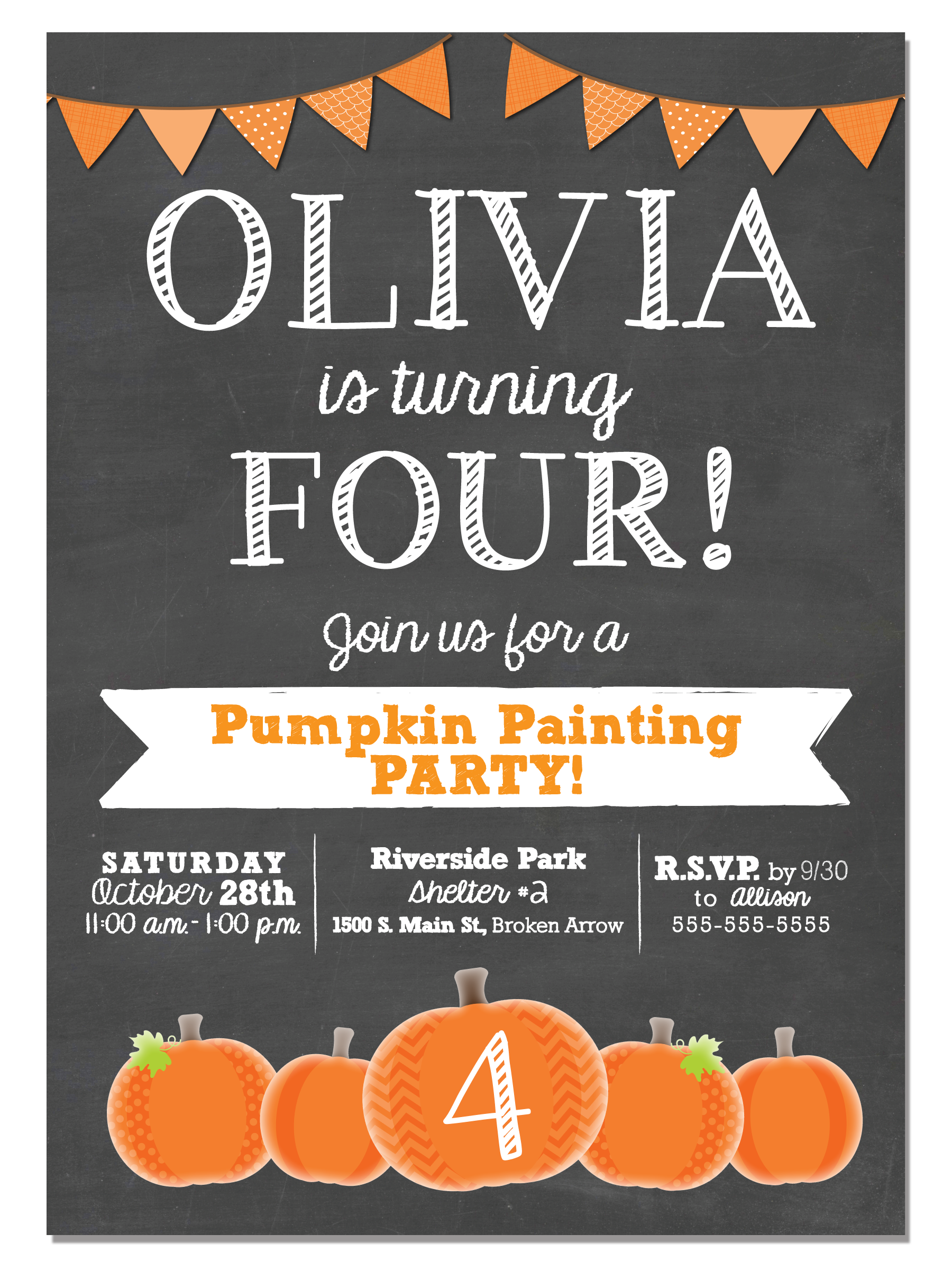 Pumpkin Painting or Pumpkin Patch Fun - Birthday Party Invitation (Digital or Printed) by:   Invitation Celebration