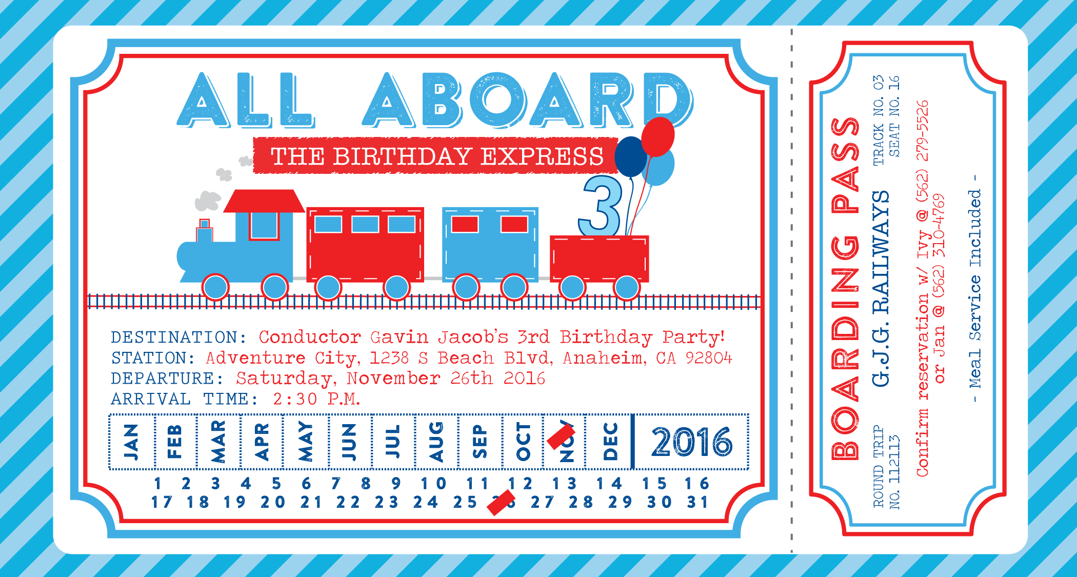 modern train birthday invitation