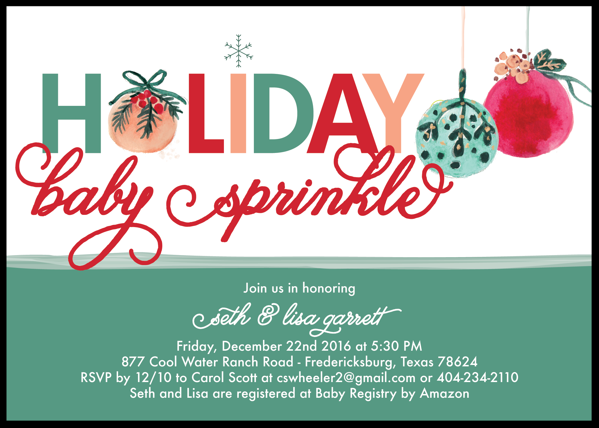 holiday baby sprinkle invitation
