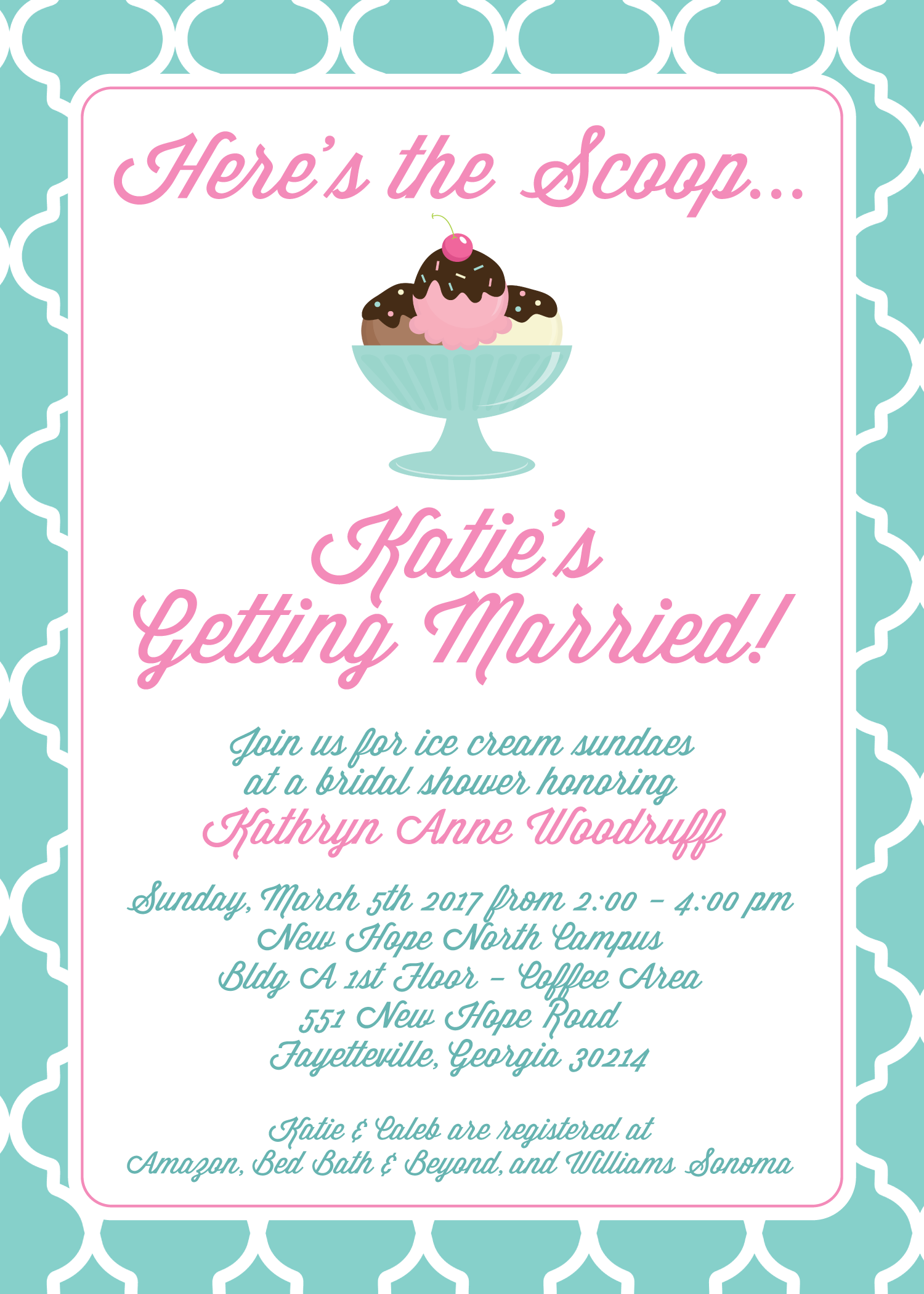 ice cream bridal shower invitation