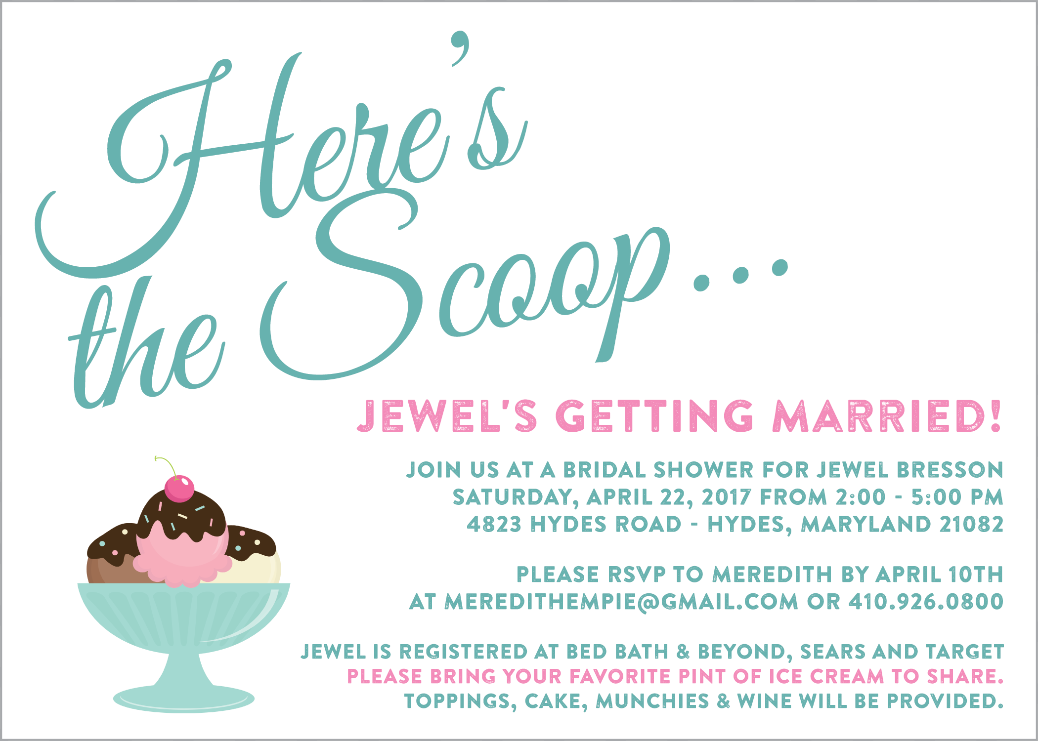 ice cream bridal shower invitation