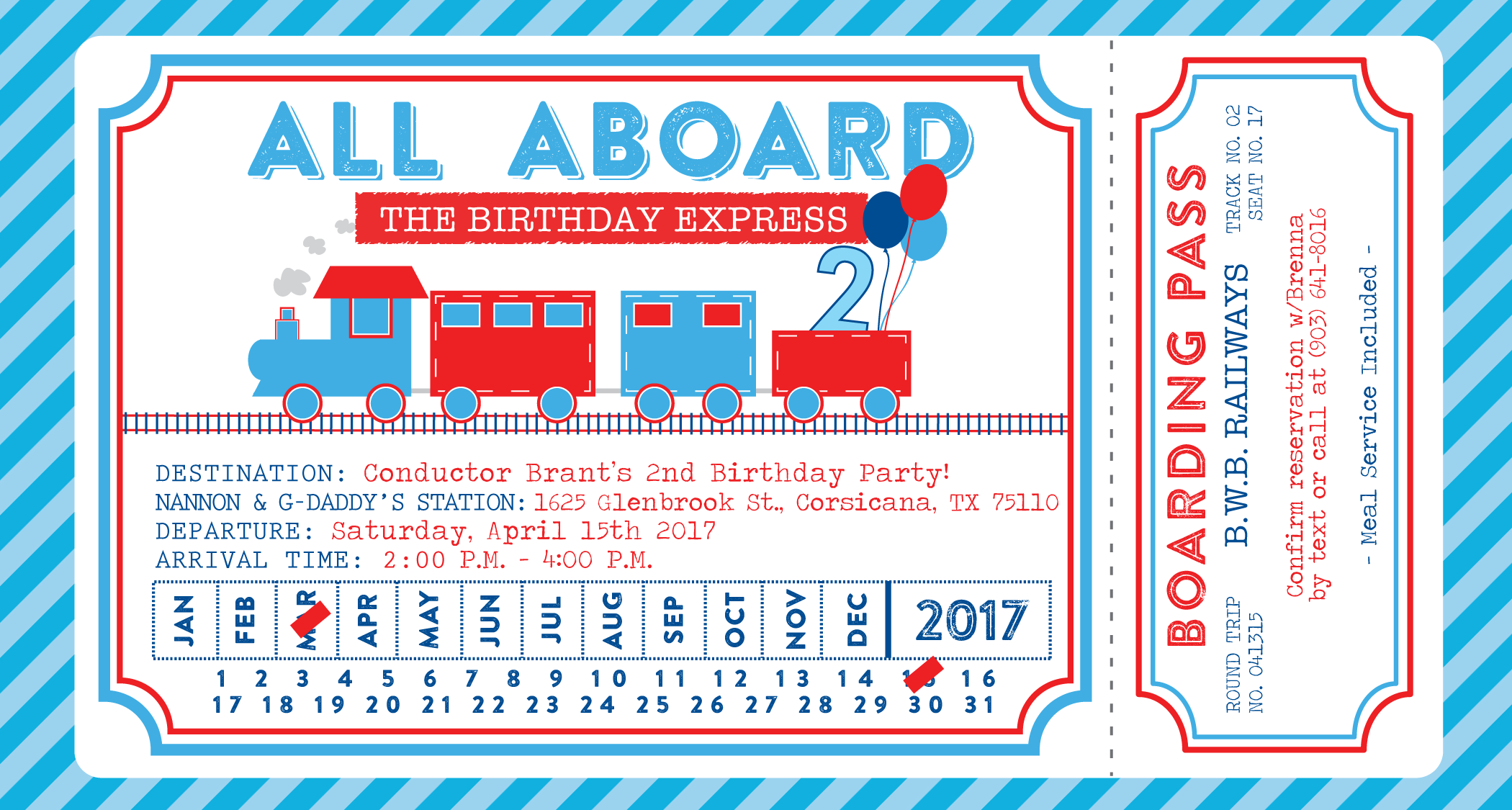 red blue navy birthday train invitation