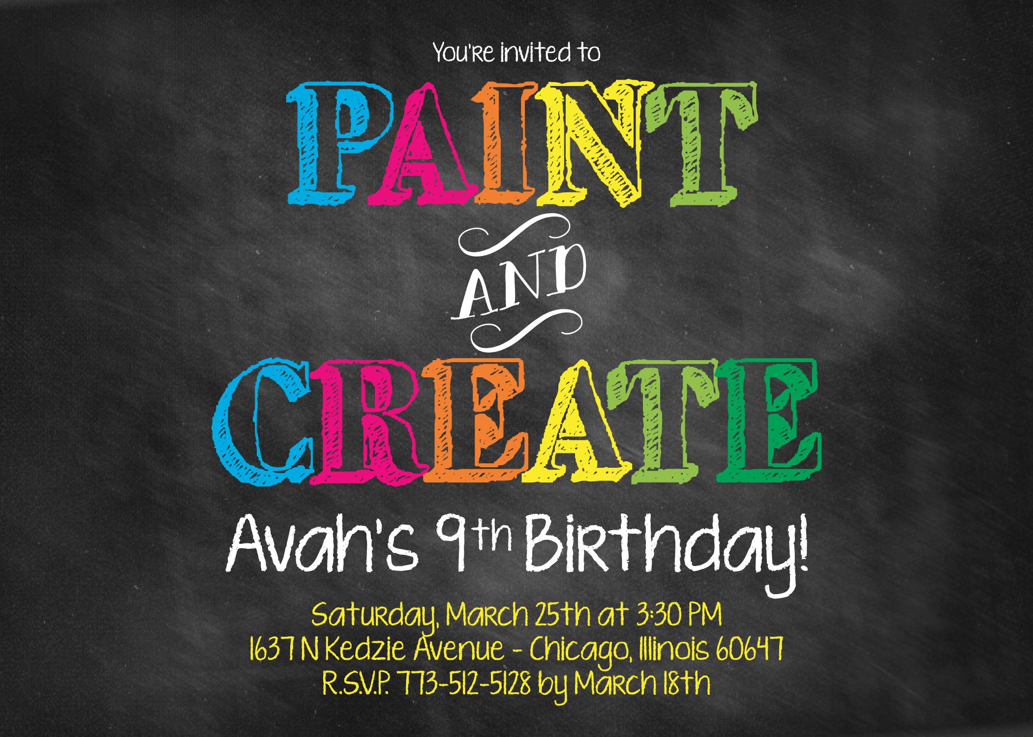 painting party birthday invitation