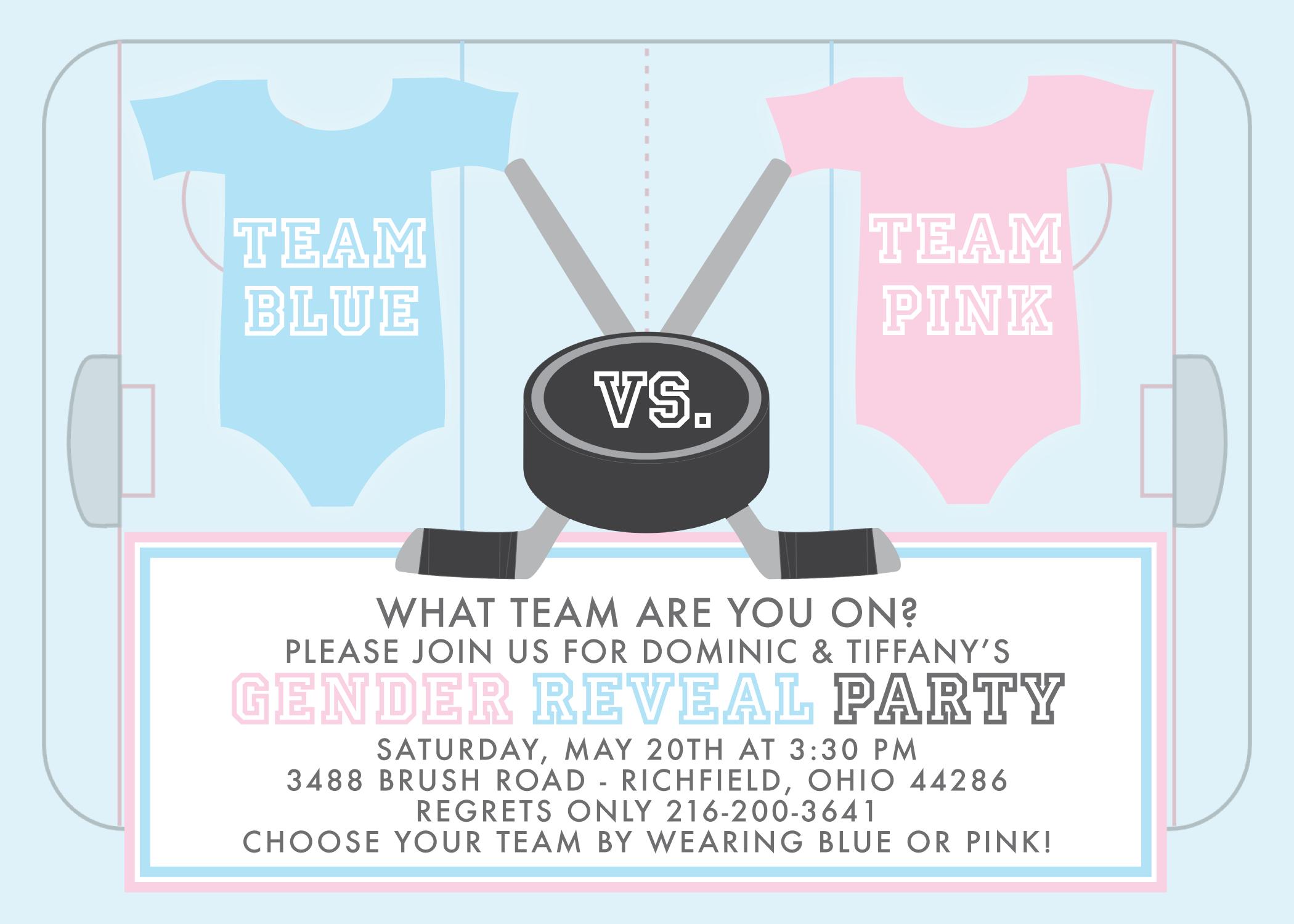 ice hockey gender reveal invitation