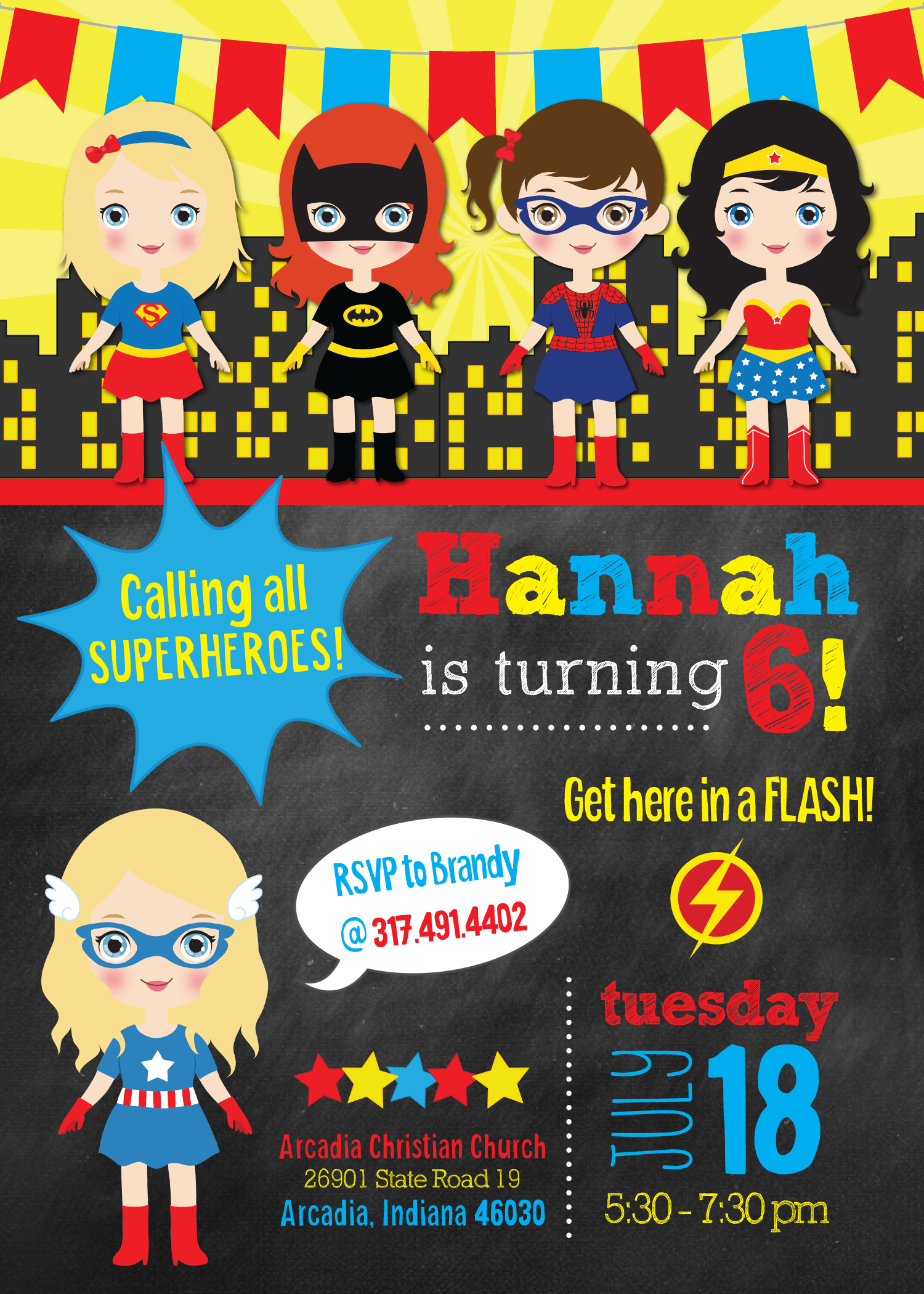 superhero girl birthday invitation