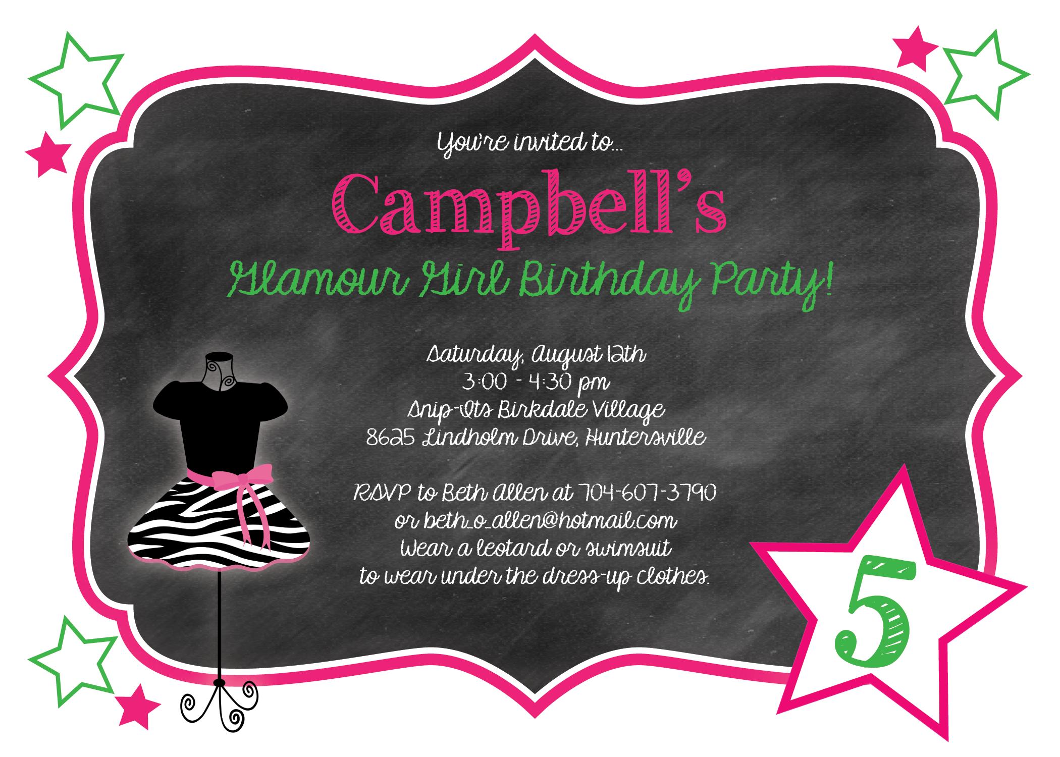 glamour girl birthday invitation