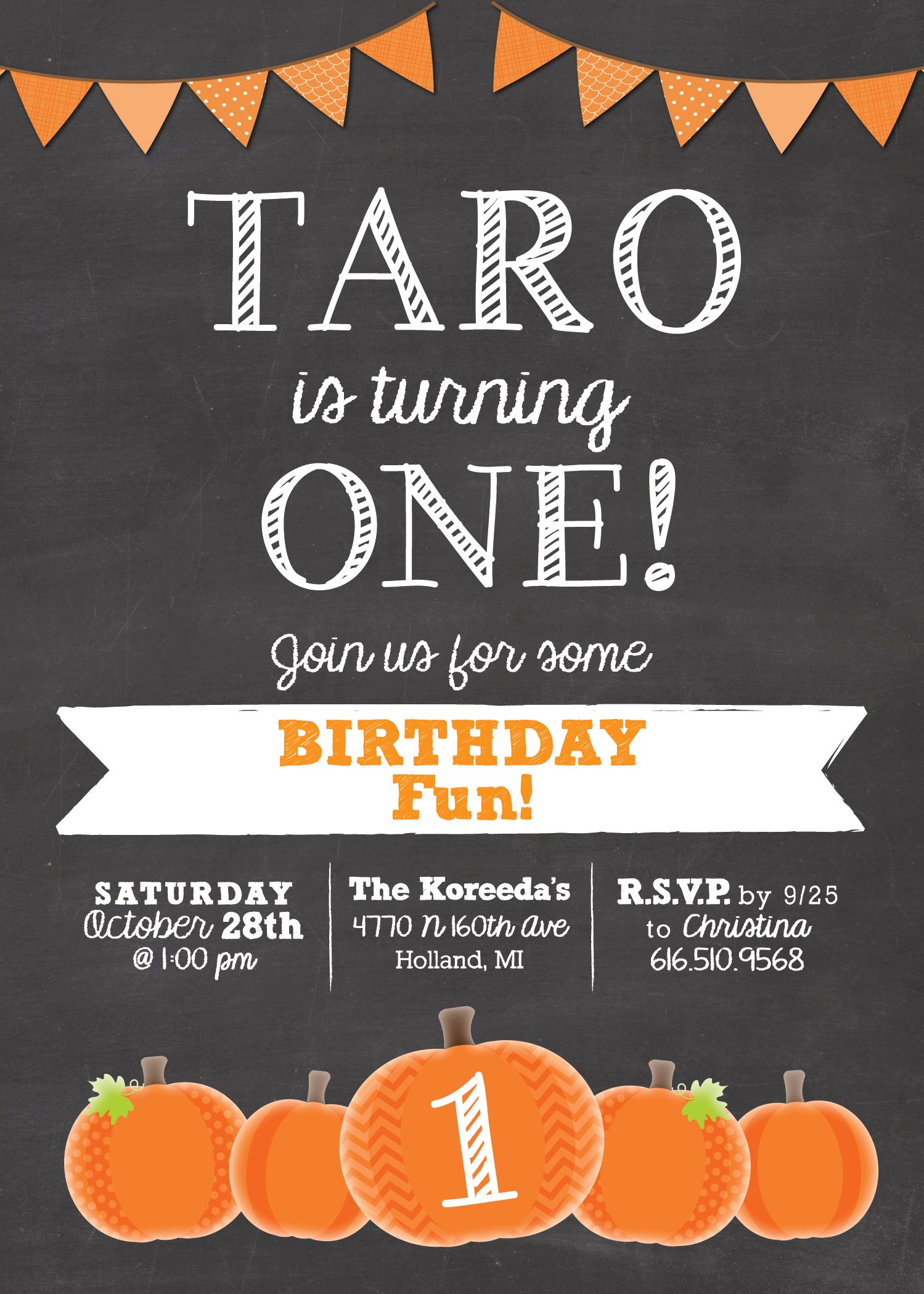 pumpkin chalkboard birthday invitation
