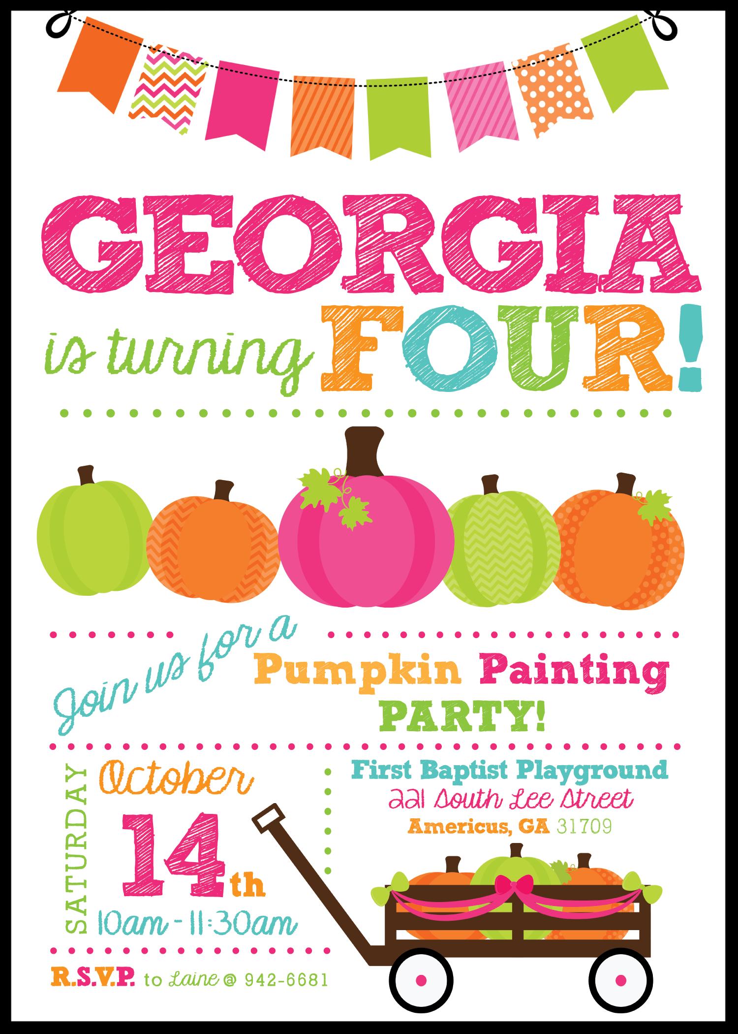 pumpkin painting birthday invitation