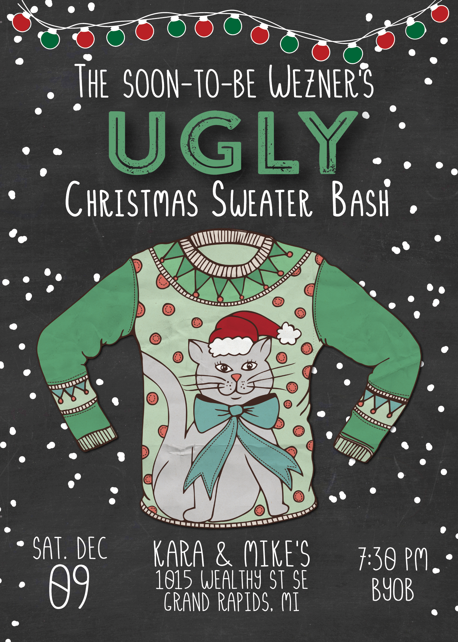 ugly cat sweater christmas invitation