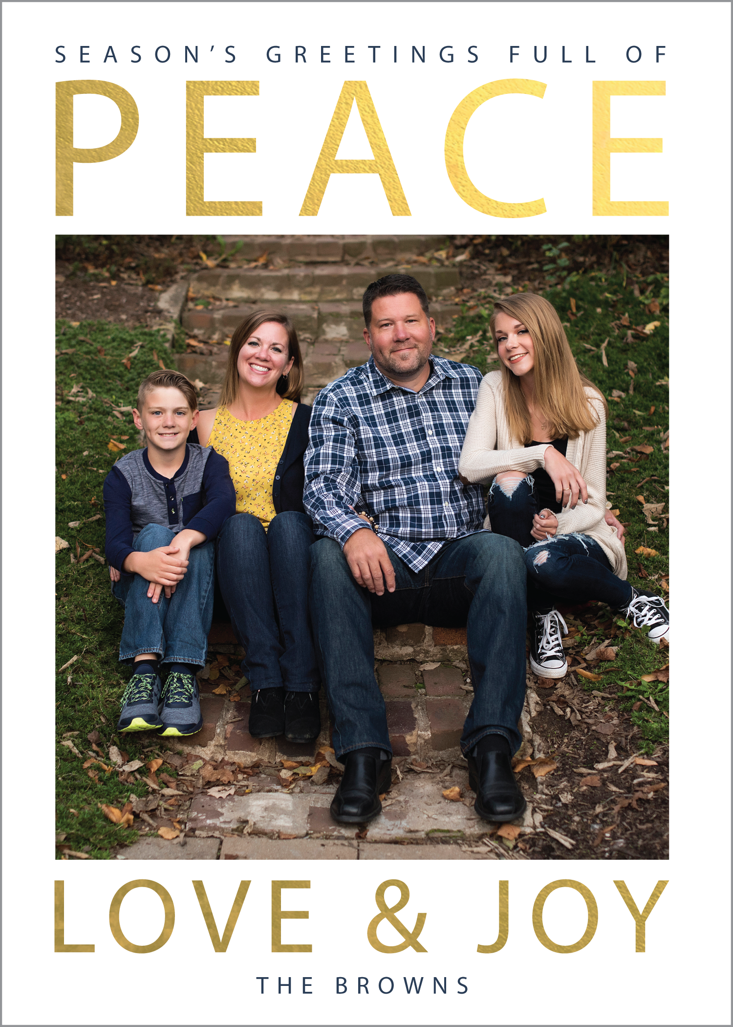 gold foil peace christmas card