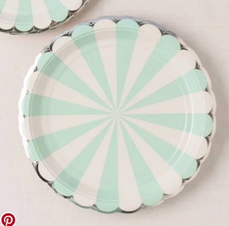 Pale turquoise scallop plates from beau-coup.com.
