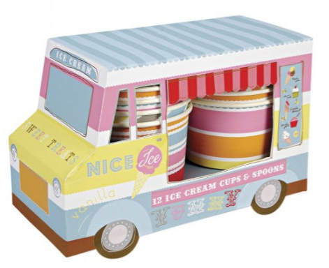 Classic ice cream truck  makes a popular centerpiece complete with ice cream cups and spoons!