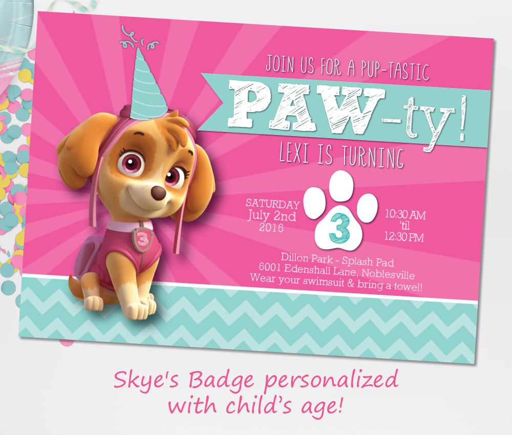 Personalised DIGITAL SKYE PAW PATROL Birthday Party Invitations Invite YOU PRINT