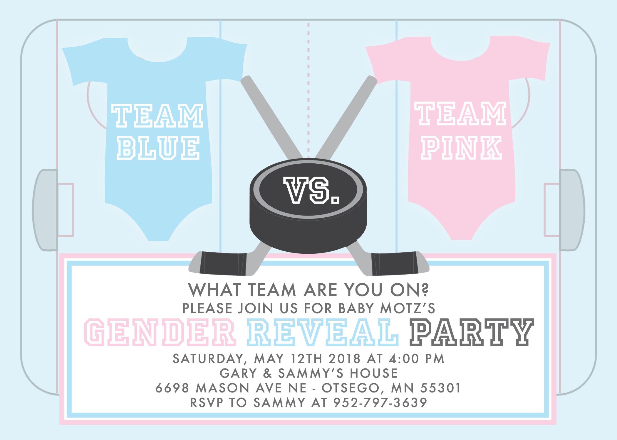 hockey gender reveal party invitation