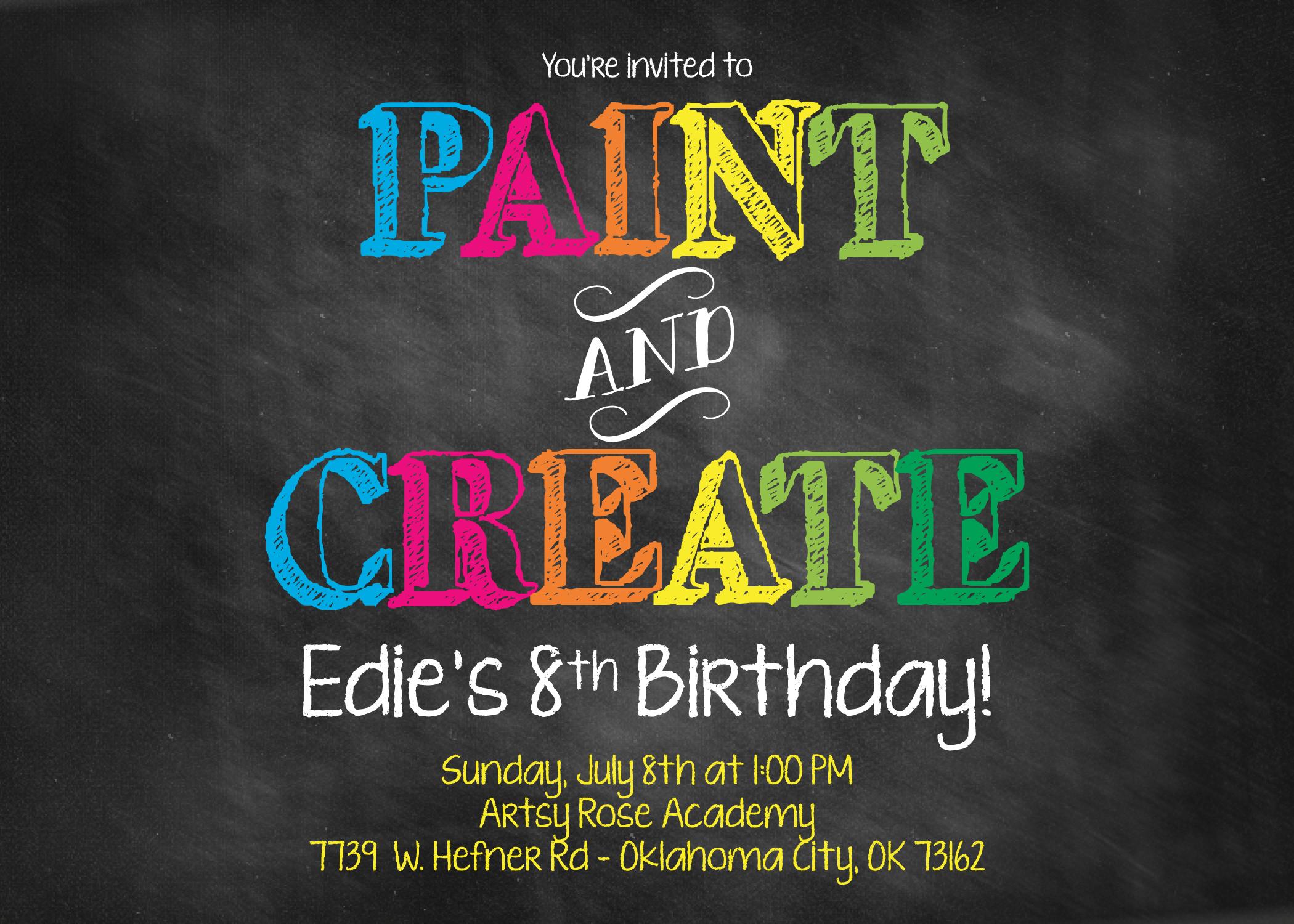 paint and create invitation